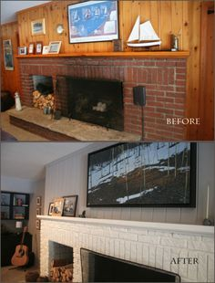 Old dirty stained brick had to go. Before and After photos of painted brick fireplace By DIFY Design Wood Paneling Makeover, Painting Wood Paneling, Basement Makeover, Basement Renovations, Home Renovation, Home Remodeling, Basement Ideas, Paneling Ideas, Basement Plans