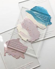 and sometimes, there's no paper or pressing involved at all 🎨 // screen printed enamel ink and hand painted acrylic for a pastel modern Miami art museum wedding. wedding colors Want the Most Romantic Wedding Color Ever? Watercolor Wedding Invitations, Wedding Stationery, Acrylic Invitations, Wedding Branding, Wedding Ideias, Romantic Wedding Colors, Bussiness Card, Museum Wedding, Forest Wedding