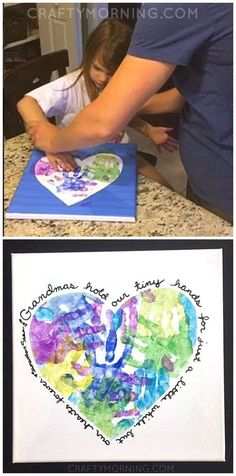 Heart handprint canvas for grandma or mom on Mother's Day! Great craft/gift for kids to make. #motherdaygifts
