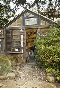 24 Ideas garden shed office backyard studio spaces . collect to display on the mantelpiece; not only do they look attractive but they can be an investment as well. A potting shed from the Magic Roundabo.rested: the shed Studio Shed, Dream Studio, Workshop Studio, Shed Office, Garden Office, Home Music, Home And Garden Store, Backyard Studio, Backyard Patio