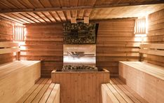 Two-tiered sauna with benches facing one another which is not a typical design…