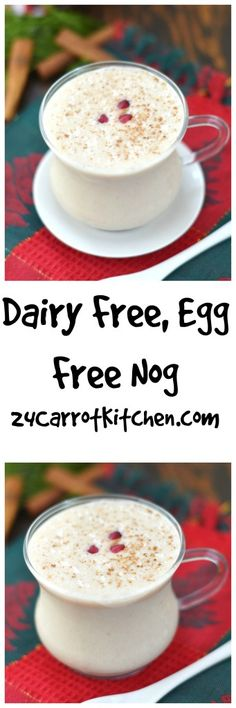Click to receive the recipe for this Dairy Free Egg Free Nog! |dairy free, grain free, gluten free, egg nog, vegan, paleo, coconut milk|