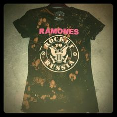 """Chaser Ramones """"Rocket to Russia"""" tee! LOVE this!! Thrashed, slashed, trashed, bleached out, beat up, holy hot mess Chaser Ramones tee! And the more you wash and wear this, the better! Cotton/elastin blend, super soft, size M....""""Aye-oh...let's go!!"""" Chaser Tops"""