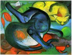 Franz Marc, 1912, Zwei Katzen, gelb und blau