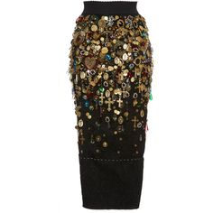 Dolce & Gabbana     Fitted Charm and Jewel Embellished Skirt ($15,000) ❤ liked on Polyvore featuring skirts, black, fitted mini skirt, embellished skirts, jacquard skirts, stretch mini skirt and stretchy skirt