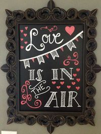 Take a stab at this Valentine chalkboard art – Love is in the air!  Valentine Home Decor Ideas on Frugal Coupon Living.