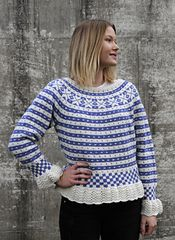 Ravelry: Fana feminin med rundfelling pattern by Nina Granlund Sæther Crochet Cardigan, Knit Crochet, Hand Knitting, Knitting Patterns, Fair Isle Pattern, Pattern Library, Ravelry, Turtle Neck, Pullover
