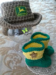 Newborn Country Boy Photo Prop set~Boot Scoot'n Cowboy hat & boots~$40 Crochet by Dugan's Girls