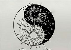Yoga Wall Decal Sun Moon Sunshine Stars Crescent Dual Ethnic Night Symbol Yoga Yin Yang Wall Sticker Studio Bedroom Decoration is part of Deer Skull tattoos Color - Deer Skull tattoos Color Moon Sun Tattoo, Sun Tattoos, Sun Moon, Stars And Moon, Yin Yang Tattoos, Tatuajes Yin Yang, Arte Yin Yang, Yin Yang Art, Yin And Yang