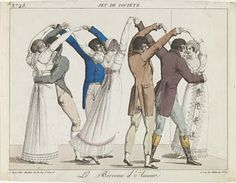 Why did we wait for any thing?--Why not seize the pleasure at once?--How often is happiness destroyed by preparation, foolish preparation! Regency Dress, Regency Era, Dance Art, Dance Music, Jane Austen, Caricatures, Dancing Drawings, Country Dance, 1800s Fashion