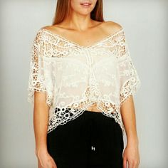 ARK & CO. lace crop top Beautiful sheer and crochet cream top. One size fits most! Even prettier in person.  (For fit reference, I am able to wear this top as a 38D, so it truly can accommodate a wide variety of sizes.) - 100% cotton  10% Discount when you bundle! No Trades Smoke-free home Next day shipping Ark & Co Tops Crop Tops