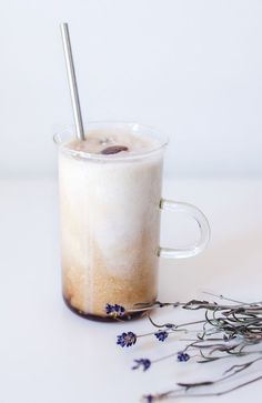 iced latte with coconut and lavender.