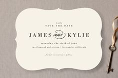 """Classically Stated"" - Classical, Elegant Save The Date Cards in Charcoal by roxy."