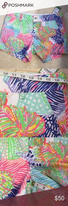 Lilly Pulitzer Callahan Shorts - size 8 - NWT Up for consideration is a pair of Lilly Pulitzer shorts. They are new with tags. They are Callahan style. The fabric content is 100% cotton. The print is multi roar of the seas.  Measurements are included in the photos. Lilly Pulitzer Shorts