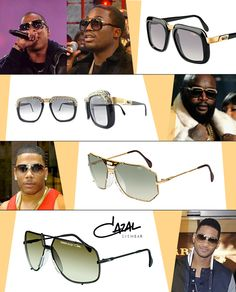 From left to right, top to bottom: Jay-Z in CAZAL (616); Meek Mill in CAZAL (616); Rick Ross in CAZA L(616) made specially by Corey Shapiro from Vintage Frames Company; Nelly in CAZAL (905); and Usher in CAZAL (902)