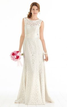 Sleeveless Zipper Lace Scoop A-line Wedding Dresses fzcf1020
