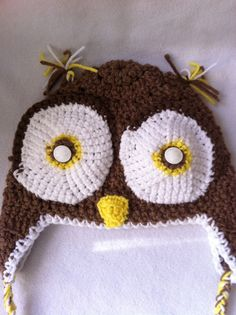 Hip Crochet  snow cap with earflaps brown owl hat by Cherie4e, $20.00