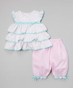 Take a look at the Pink & Aqua Ruffle Tunic & Bloomers - Infant & Toddler on #zulily today!