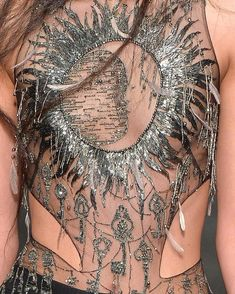 """Alexander McQueen FW """"A detailed view of the Magical Map embroidery, as seen on the runway. The moon, sun and keys are embroidered using bugle beads, glass…"""" Runway Fashion, High Fashion, Fashion Outfits, Womens Fashion, Fashion Black, Luxury Fashion, Couture Details, Fashion Details, Fashion Design"""