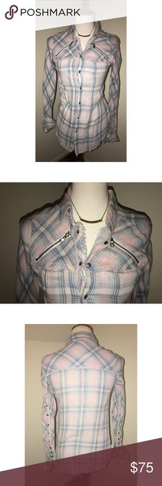 """Hudson Jeans $80 NWT Size XS Ryan Snap Plaid Shirt Details Fringe-trimmed edges and zips at the front yoke deliver edgy moto styling to a cotton plaid shirt, while a spread collar and bias-cut back yoke fashion a distinctly heritage look. Gunmetal buttons stud the sleeves for an eye-catching finish. - 28"""" length (size Medium) - Spread collar - Front snap-button closure - Chest patch pockets - 100% cotton - Machine wash cold, tumble dry low Hudson Jeans Tops Button Down Shirts"""