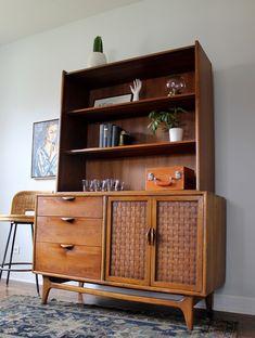 Mid Century Modern Lane Cabinet Bookcase Credenza