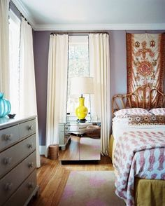 rattan headboard | great wall color