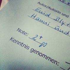 Das Deutsch-Referat war ganz ordentlich wie uns das Kind offenbarte.  Wir sind nicht unzufrieden damit