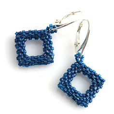 Square modré / kacenkag - SAShE.sk - Handmade Náušnice