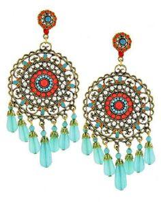 Southwest Tribal Cowgirl Rodeo Gypsy Big Boho Turquoise Gold Chandelier Earrings | eBay