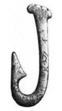 Metkrok av ben från stenåldern, funnen i Skåne.flip - Fish hook - Wikipedia, the free encyclopedia