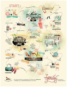 Melbourne walk map Accompagnement textes-visuels. Les ferrages se font en fonction de certaines lignes de la carte