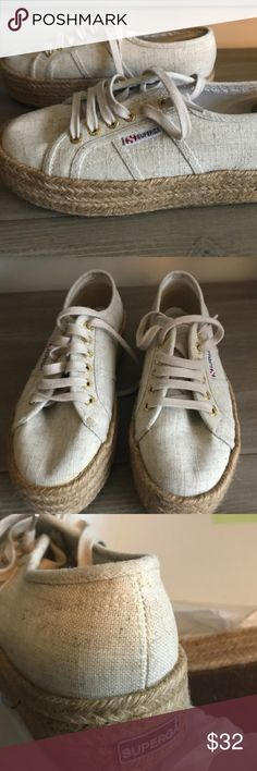 9d6cedab0c494 Superga 2790 Linen Rope Platform Sneakers Platform sneakers in natural  color Used two times Kept wrapped in tissue/original box at all times in  smoke/pet ...