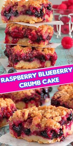 This delicious raspberry blueberry crumb cake is made of fresh berries and has a tendency to disappear really fast! Candy Recipes, Fruit Recipes, Desert Recipes, Sweet Recipes, Cooking Recipes, Cute Desserts, Delicious Desserts, Yummy Food, Brownies
