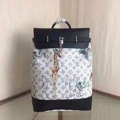 Louis Vuitton Animal Print Steamer Backpack L 32 cm- Monogram Savane canvas- Textile lining- Cowhide leather trim- Silver-color metallic pieces- Top handle- 2 leather straps- Laptop compartment- Inside double flat pocket White Louis Vuitton Bag, Louis Vuitton 2017, Louis Vuitton Backpack, Men's Backpacks, Backpacks For Sale, White Purses, Steamer, Cowhide Leather, Silver Color