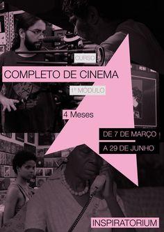 Curso Completo de Cinema (4 módulos / 4 meses cada) ::: Módulo 1 / 4 meses :::  http://www.inspiratorium.com.br/#!completo-de-cinema/g1g47 > De 7 de março a 29 de junho Profissionais como professores >> Joel Yamaji, Cristina Amaral, Luiz Adelmo Manzano, Alziro Barbosa, Sérgio Alpendre, Bruno Primor, Davi Heller Estrutura >> Estúdio de filmagem, Sala de Som, Sala de Finalização (montagem e correção de cor). Equipamentos próprios de ponta >> Red Epic, Ursa Blackmagic, Steadicam e muito mais.
