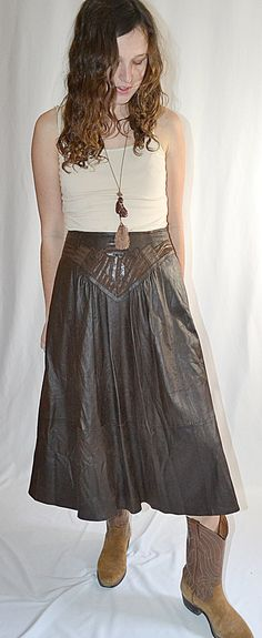 Vintage 1980s Elegant Dark Brown Leather Full Midi Skirt With Pieced Front Panel 30 Inch Waist by ChrisMartinDesigns on Etsy
