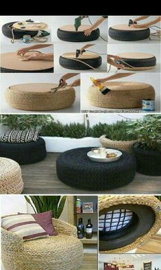 Make Furniture Out Of Used Car Tires This is a great way of reusing used car tir… – Basteln in Haus & Garten - Diy Furniture Diy Home Decor For Apartments, Diy Home Decor On A Budget, Handmade Home Decor, Decorating On A Budget, Apartment Ideas, Apartment Living, Budget Crafts, Cheap Apartment, Apartment Kitchen