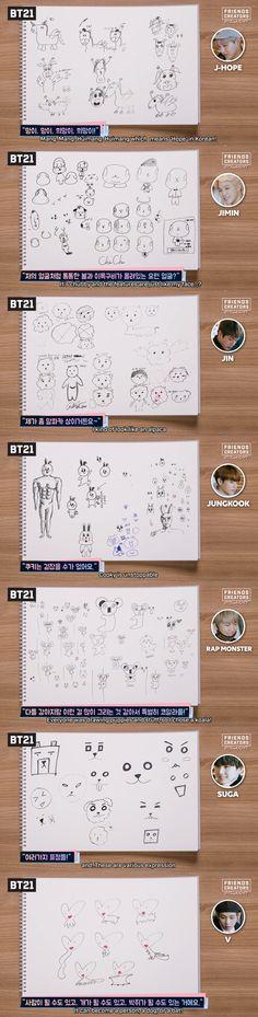 Puede que Yoongi sea bastante creativo a la hr de escribir canciones, pero creo que al crear algún dibujo, su creatividad se limita uuuun poquito.