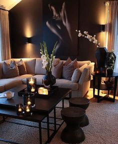 Decor Home Living Room, Decor Room, Home And Living, Living Room Designs, Black Living Room Furniture, Black Room Decor, Living Room Themes, Black And Cream Living Room, Cream Living Rooms