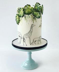 Safari Birthday Cakes, Jungle Theme Cakes, Jungle Theme Birthday, Safari Cakes, Baby Boy 1st Birthday, Birthday Ideas, Safari Baby Shower Cake, Baby Shower Cakes Neutral, Baby Boy Shower