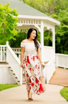 cute & little blog | petite fashion | lace crop top, floral polka dot maxi skirt, nude gladiator wedge sandals | spring outfit #naturalizer #sharethewalk