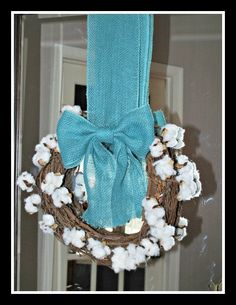 Cotton Wreath with Blue Burlap Bow