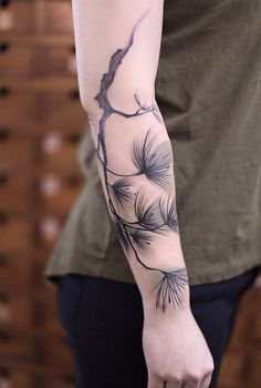 Pine leaves forearm tattoo - 110+ Awesome Forearm Tattoos