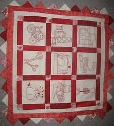 Redwork Embroidery Quilt Wall Hanging