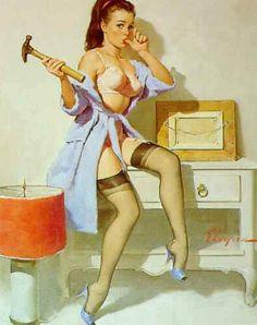 """""""The Wrong Nail""""  1967 Elvgren -- love pin-up girls"""