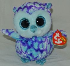 New! 2015 TY Beanie Boos Blue & Purple Owl OSCAR 6