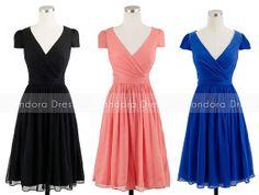 Bridesmaid Dress with sleeve-Chiffon Short Bridesmaid Dress-Custom Made - $115