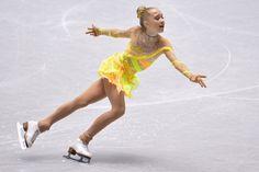 Elena Radionova of Russia short program  2013/2014 NHK Trophy -Yellow Figure Skating / Ice Skating dress inspiration for Sk8 Gr8 DesignsNHK Trophy at...