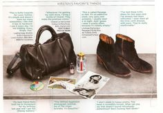 """Kirsten Dunst in Lucky Magazine:  """"I like this collection of her favorite items, notably the SC Louis Vuitton bag, and the A.P.C. boots.""""  Via MinimaMaxima pic: Lucky Magazine"""