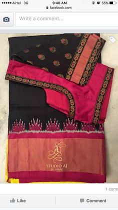 Body Blouse 1 colour and sleeves with matching border/contrast color Pattu Saree Blouse Designs, Blouse Designs Silk, Saree Blouse Patterns, Dress Designs, Maggam Work Designs, Simple Blouse Designs, Blouse Models, My Collection, Elegant Saree